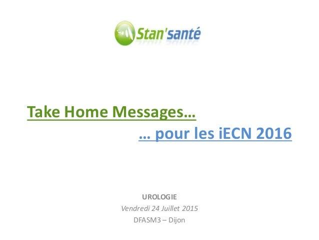 Take Home Messages… UROLOGIE Vendredi 24 Juillet 2015 DFASM3 – Dijon … pour les iECN 2016