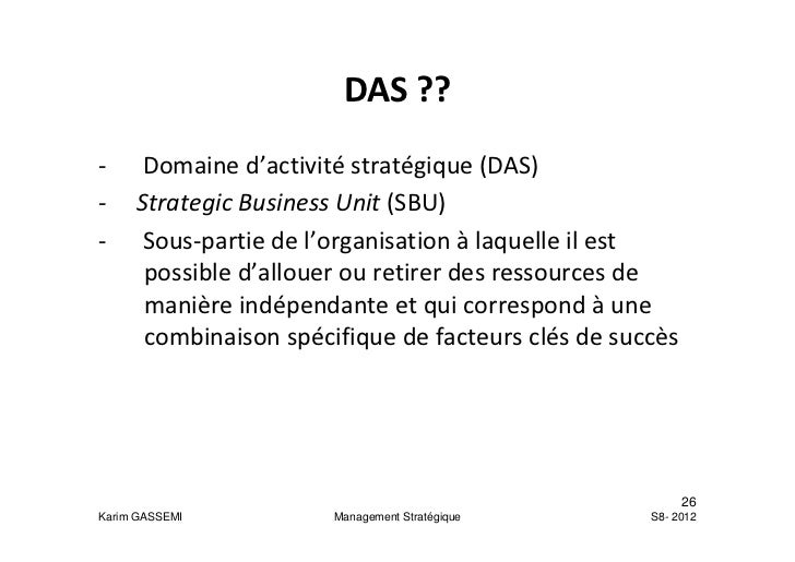 Theme 1 Les Concepts Fondamentaux Du Management Strategique