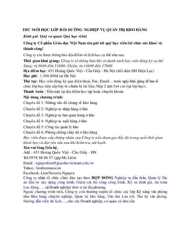 THƯ MỜI HỌC LỚP BỒI DƯỠNG NGHIỆP VỤ QUẢN TRỊ KHO HÀNG Kính gửi: Quý cơ quan/ Quý học viên! Công ty Cổ phần Giáo dục Việt N...