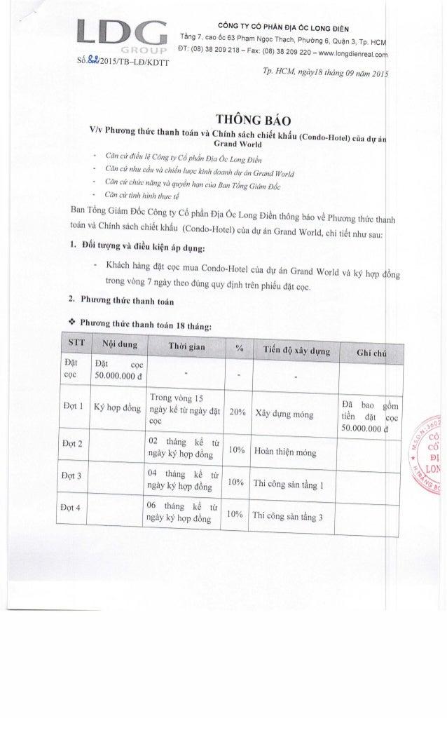 CÔNG TY CỔ PHẮN ĐỊA Ốc LONG ĐIỀN Tâng 7, cao ốc 63 Phạm Ngọc Thạch, Phường 6, Quận 3, Tp. HCM ÐT: (08) 38 209 218 - Fax: (...