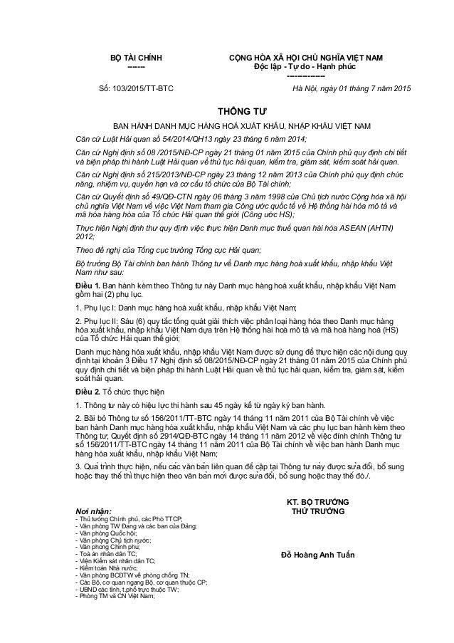BỘ TÀI CHÍNH ------- CỘNG HÒA XÃ HỘI CHỦ NGHĨA VIỆT NAM Độc lập - Tự do - Hạnh phúc --------------- Số: 103/2015/TT-BTC Hà...