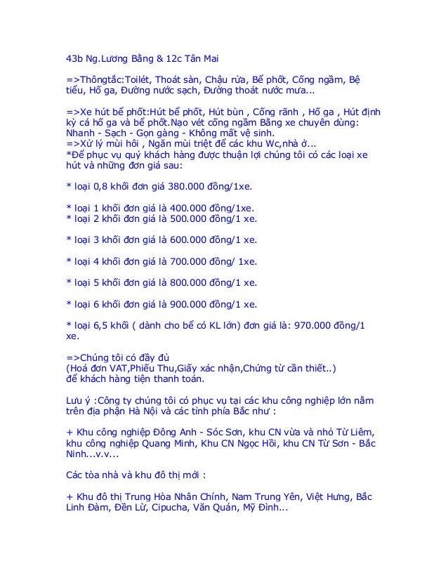 43b Ng.Lương Bằng & 12c Tân Mai=>Thôngtắc:Toilét, Thoát sàn, Chậu rửa, Bể phốt, Cống ngầm, Bệtiểu, Hố ga, Đường nước sạch,...