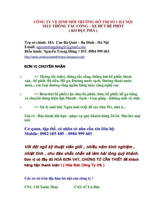 CÔNG TY VỆ SINH MÔI TRƯỜNG ĐÔ THỊ SỐ 1 HÀ NỘI MÁY THÔNG TẮC CỐNG – XE HÚT BỂ PHỐT ( KO ĐỤC PHÁ ) Trụ sở chính: 18A Cao Bá ...