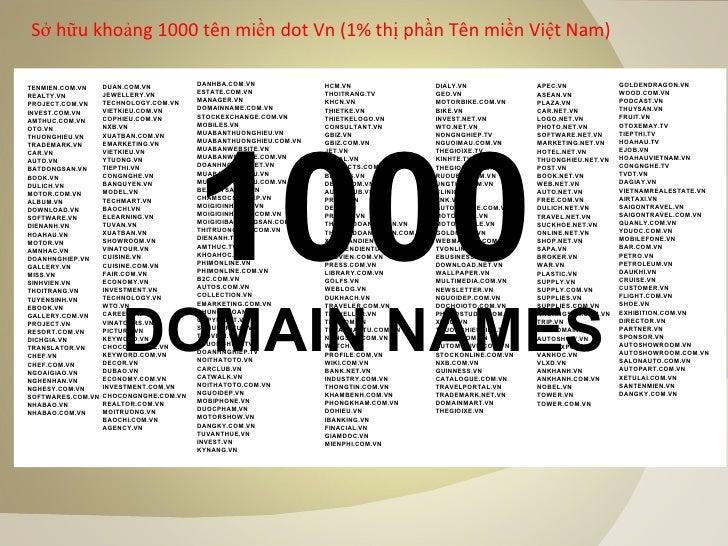 Sở hữu khoảng 1000 tên miền dot Vn (1% thị phần Tên miền Việt Nam) 1000 DOMAIN NAMES