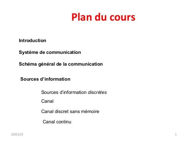 Plan du cours     Introduction     Système de communication     Schéma général de la communication      Sources d'informat...