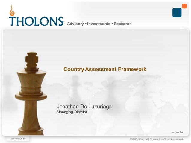 © 2009. Copyright Tholons Inc. All rights reserved. Advisory Investments Research Jonathan De Luzuriaga Managing Director ...