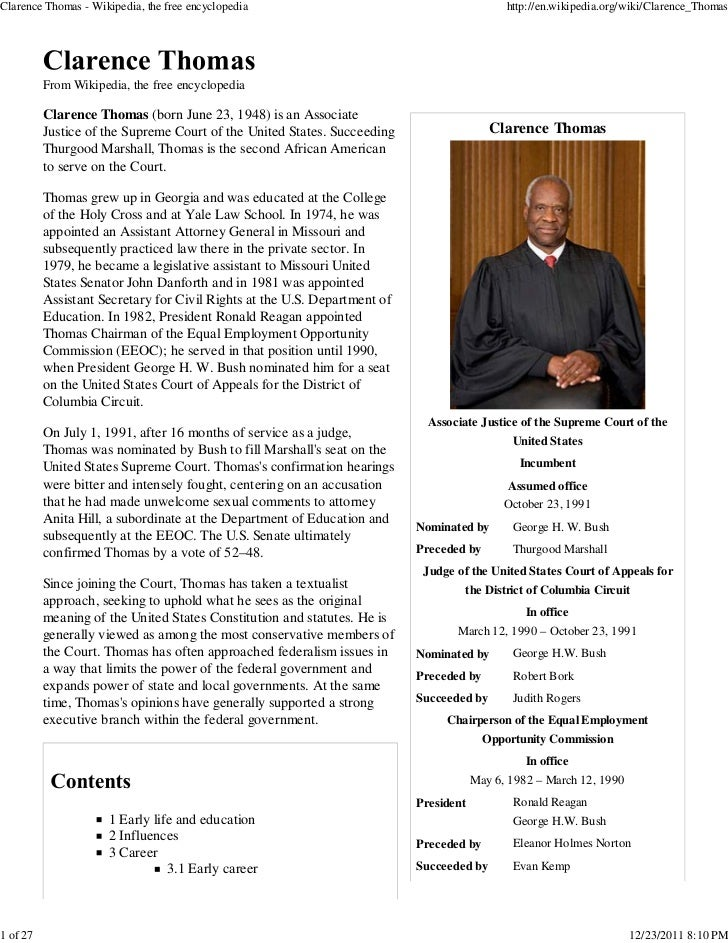 Clarence Thomas - Wikipedia, the free encyclopedia                                           http://en.wikipedia.org/wiki/...