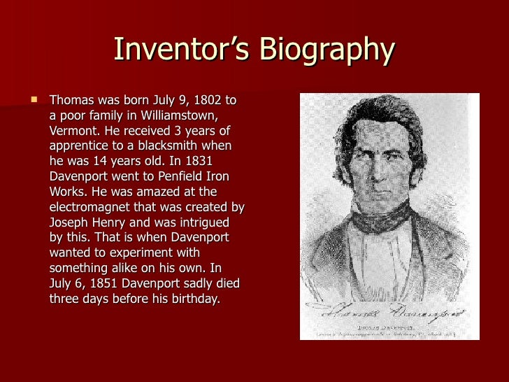Who Invented The First Car >> Thomas Davenport'S Electric Car