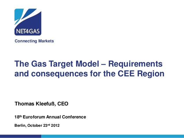 Connecting MarketsThe Gas Target Model – Requirementsand consequences for the CEE RegionThomas Kleefuß, CEO18th Euroforum ...