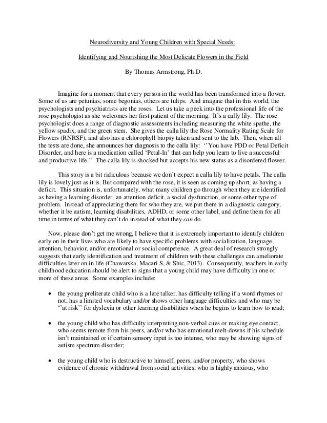 Essays On Science And Religion Neurodiversity And Young Children With Special Needs Identifying And  Nourishing The Most Delicate Flowers In  English Reflective Essay Example also Fahrenheit 451 Essay Thesis Neurodiversity And Young Children With Special Needs Compare And Contrast Essay On High School And College