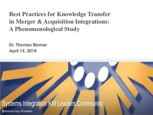 Best Practices for Knowledge Transfer in Merger & Acquisition Integrations: A Phenomenological Study Dr. Thomas Blumer Apr...