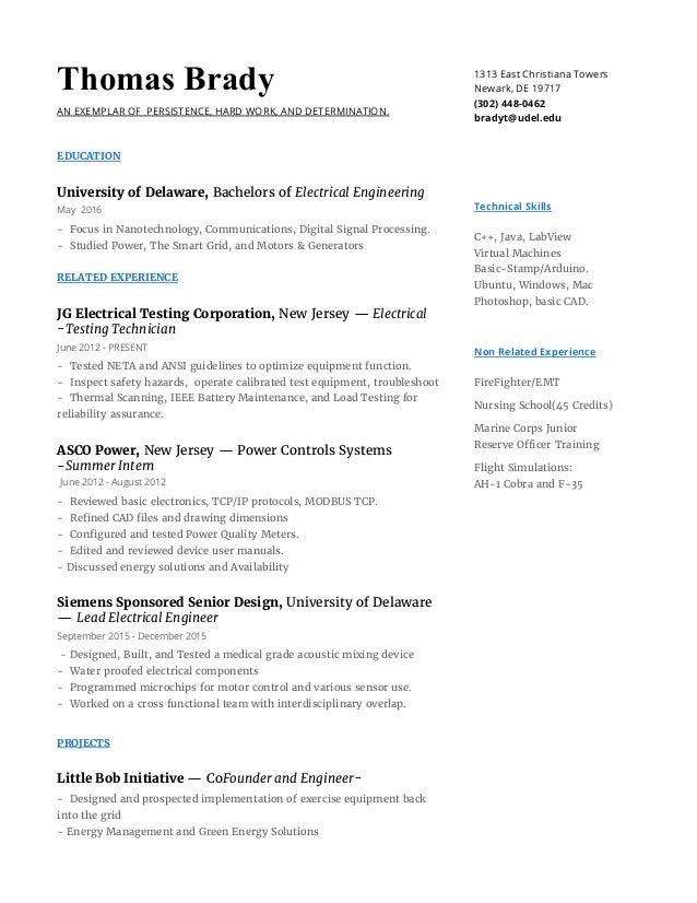 Thomas Brady\'s Electrical Engineering Resume
