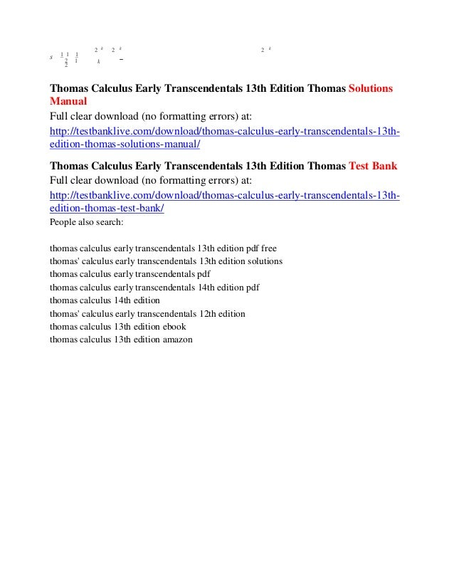Thomas Calculus Early Transcendentals 12th Edition Pdf