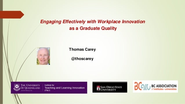 Engaging Effectively with Workplace Innovation as a Graduate Quality Thomas Carey @thoscarey