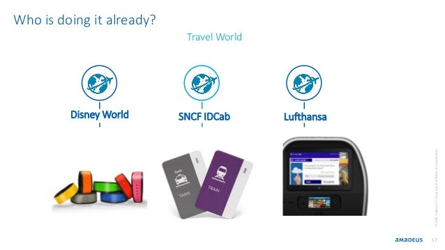 17 Disney World Lufthansa ©2016AmadeusITGroupanditsaffiliatesandsubsidiaries Who is doing it already? SNCF IDCab Travel Wo...