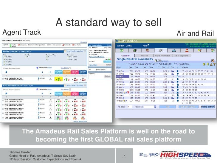 A standard way to sellAgent Track                                               Air and Rail         The Amadeus Rail Sale...