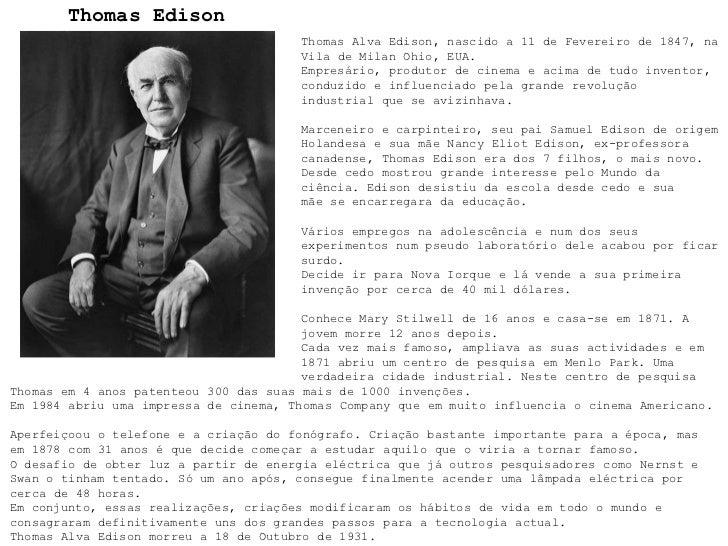 Pesquisa - Thomas Edison