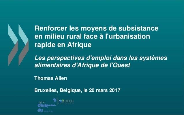 Renforcer les moyens de subsistance en milieu rural face à l'urbanisation rapide en Afrique Les perspectives d'emploi dans...