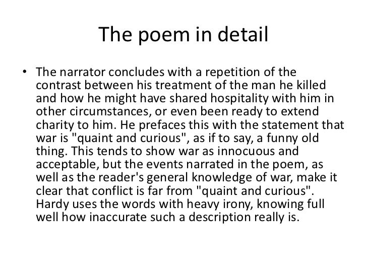 comparison of the man he killed Read this full essay on the mother by gwendolyn brooks and the man he killed  by thomas hardy to provide a successful comparison of any two things, one.