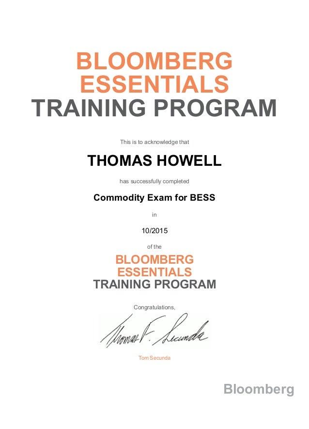 Bloomberg Essentials Training Program Commodity Exam For Bess Certifi