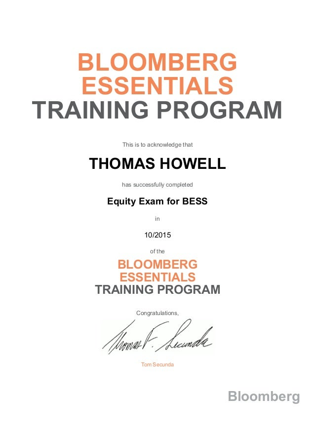 Bloomberg Essentials Training Program Equity Exam For Bess Certificate