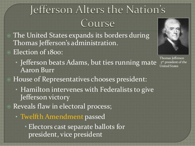 """a review of the election of thomas jefferson The 2016 election has often been compared to the election of 1800, in which the populist democratic-republican candidate, thomas jefferson, defeated the """"establishment"""" federalist candidate."""