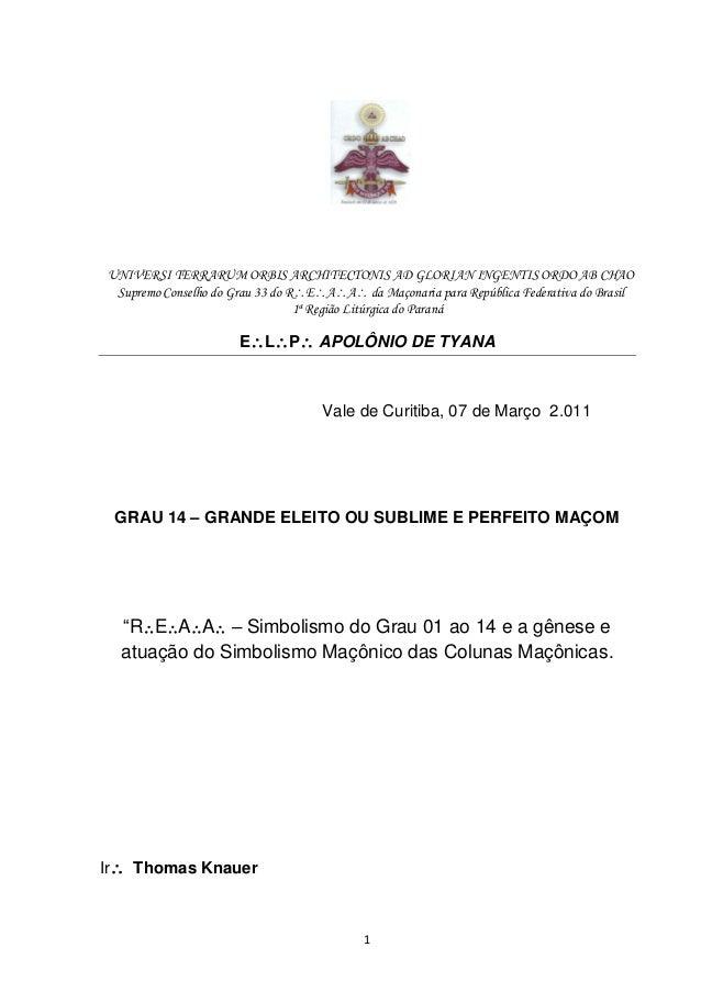 1 UNIVERSI TERRARUM ORBIS ARCHITECTONIS AD GLORIAN INGENTIS ORDO AB CHAO Supremo Conselho do Grau 33 do REAA da Maçona...