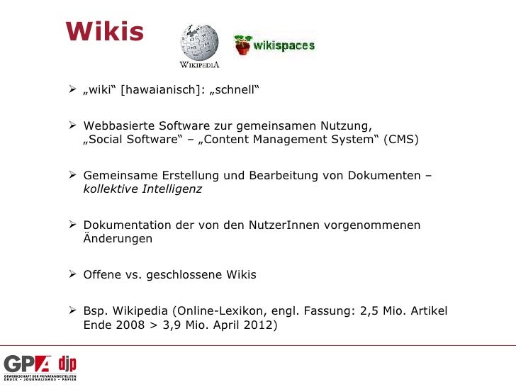 """Wikis """"wiki"""" [hawaianisch]: """"schnell"""" Webbasierte Software zur gemeinsamen Nutzung,  """"Social Software"""" – """"Content Manage..."""