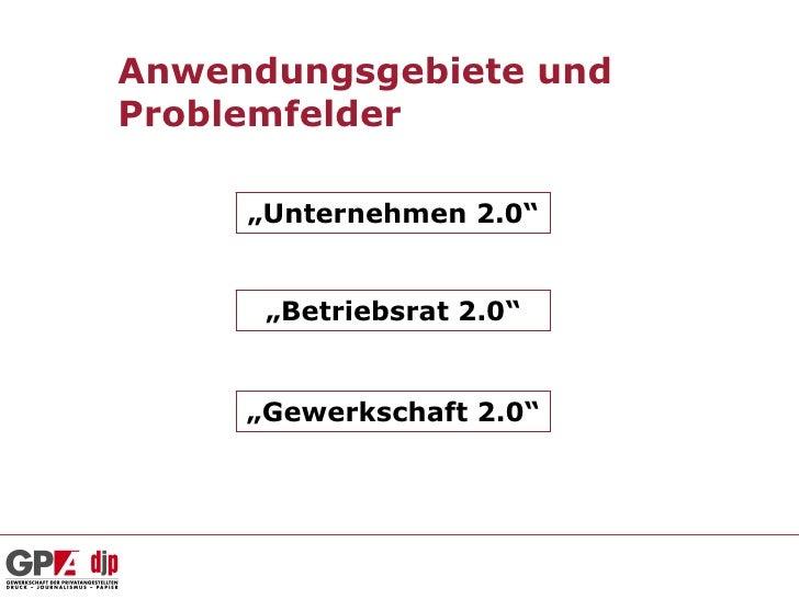 """Anwendungsgebiete undProblemfelder     """"Unternehmen 2.0""""      """"Betriebsrat 2.0""""     """"Gewerkschaft 2.0"""""""