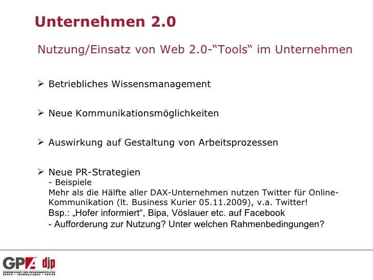 """Unternehmen 2.0Nutzung/Einsatz von Web 2.0-""""Tools"""" im Unternehmen Betriebliches Wissensmanagement Neue Kommunikationsmög..."""