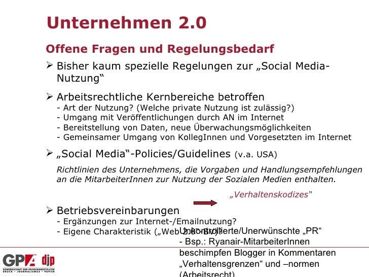 """Unternehmen 2.0Offene Fragen und Regelungsbedarf Bisher kaum spezielle Regelungen zur """"Social Media-  Nutzung"""" Arbeitsre..."""