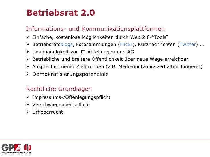 """Betriebsrat 2.0Informations- und Kommunikationsplattformen Einfache, kostenlose Möglichkeiten durch Web 2.0-""""Tools"""" Betr..."""
