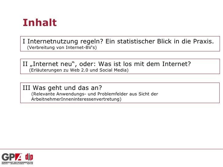 """InhaltI Internetnutzung regeln? Ein statistischer Blick in die Praxis. (Verbreitung von Internet-BV's)II """"Internet neu"""", o..."""