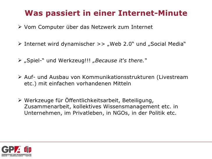 """Was passiert in einer Internet-Minute Vom Computer über das Netzwerk zum Internet Internet wird dynamischer >> """"Web 2.0""""..."""