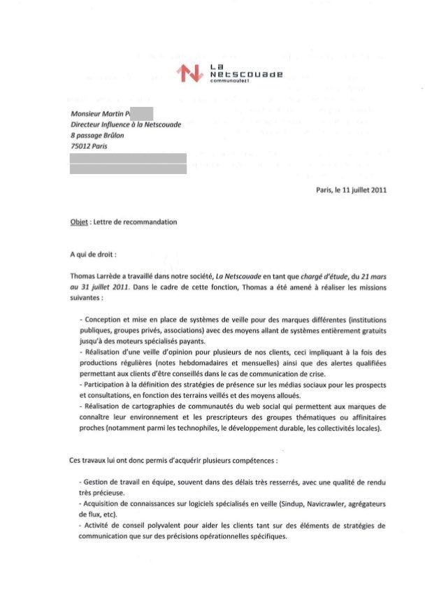 lettre de recommandation - thomas larr u00e8de  la netscouade