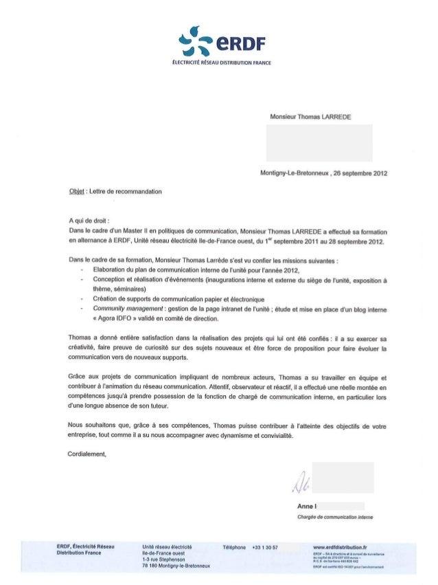 lettre de recommandation - thomas larr u00e8de  erdf