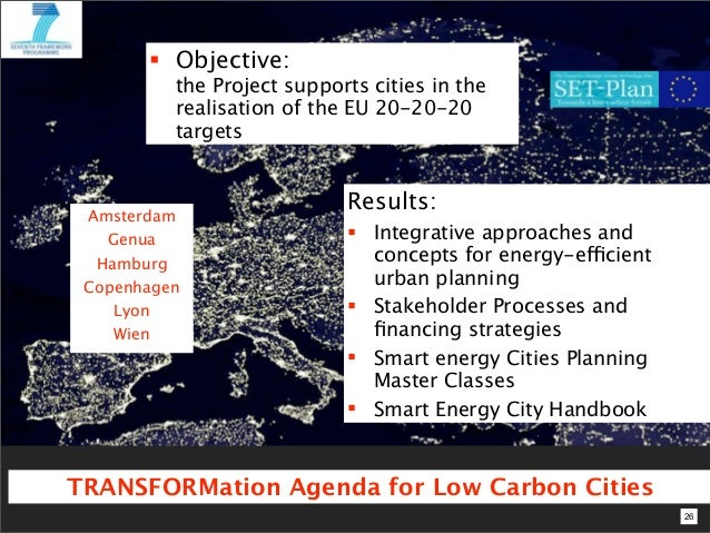  Objective:          the Project supports cities in the          realisation of the EU 20-20-20          targets         ...