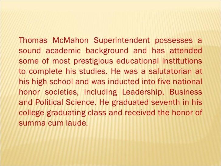 Thomas mc mahon superintendent Slide 2
