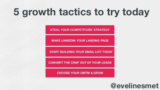 MAKE LINKEDIN YOUR LANDING PAGE START BUILDING YOUR EMAIL LIST TODAY STEAL YOUR COMPETITORS' STRATEGY 5 growth tactics to ...