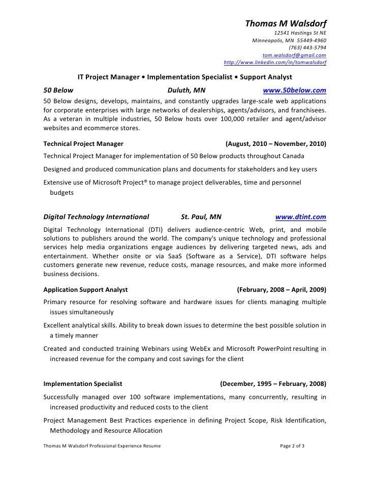 thomas m walsdorf professional experience resume