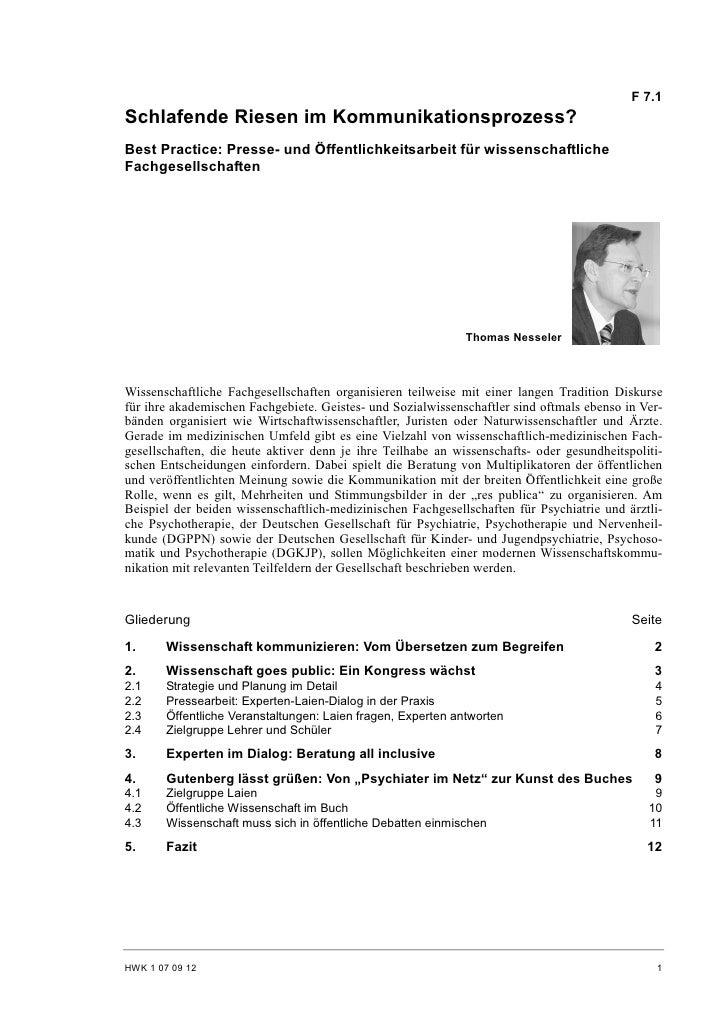 F 7.1 Schlafende Riesen im Kommunikationsprozess? Best Practice: Presse- und Öffentlichkeitsarbeit für wissenschaftliche F...