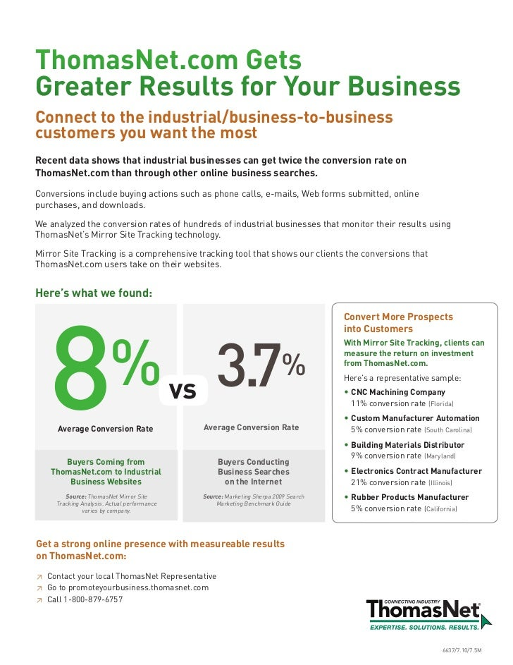ThomasNet.com GetsGreater Results for Your BusinessConnect to the industrial/business-to-businesscustomers you want the mo...