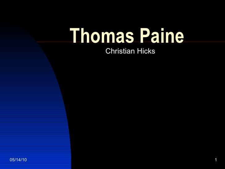 Thomas Paine Christian Hicks
