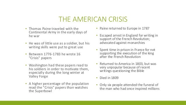 theme of the crisis by thomas paine