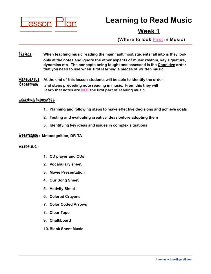 Thomas P Clune Sample Lesson Plan Learning To Read Music - Music lesson plan template