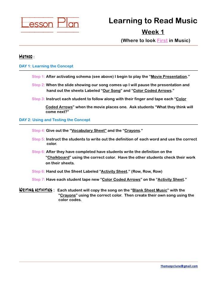 Superior Lesson Plan Learning To Read Music ...