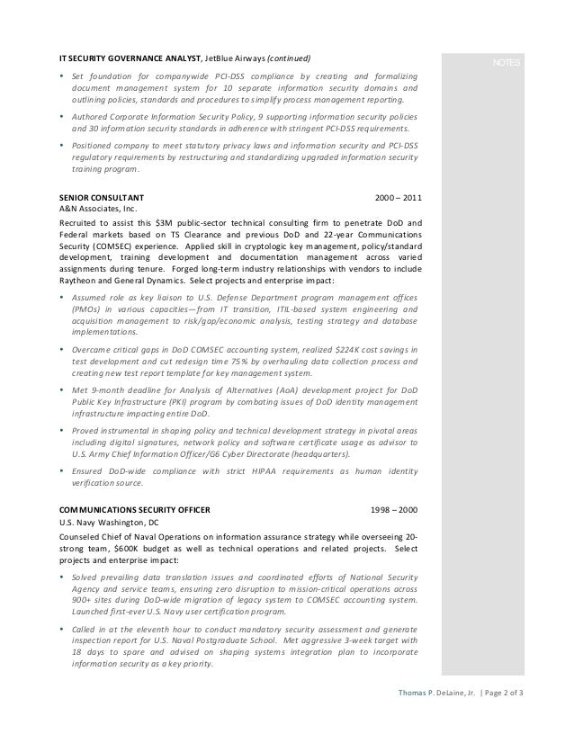 2 it security - Information Security Resume
