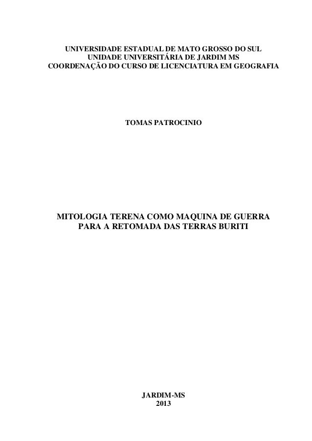 UNIVERSIDADE ESTADUAL DE MATO GROSSO DO SUL UNIDADE UNIVERSITÁRIA DE JARDIM MS COORDENAÇÃO DO CURSO DE LICENCIATURA EM GEO...