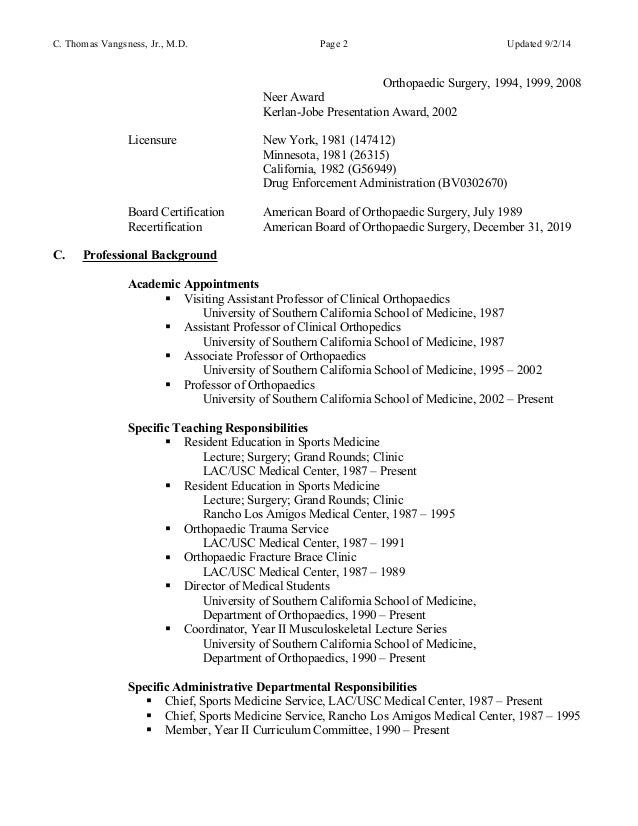 thomas vangsness resume