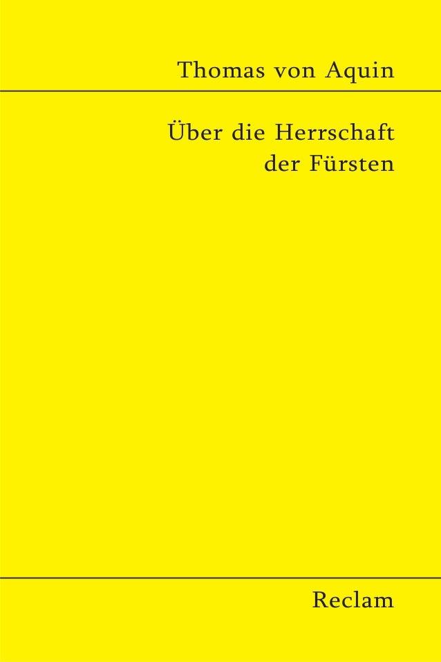 Thomas von Aquin Über die Herrschaft der Fürsten Reclam